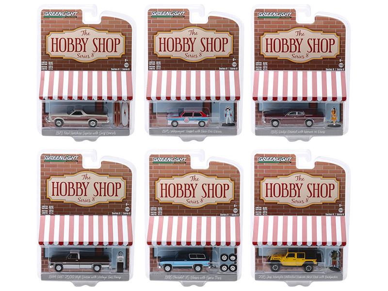 The Hobby Shop Series 8 Set 6 pieces 1/64 Diecast Model Cars Greenlight 97080