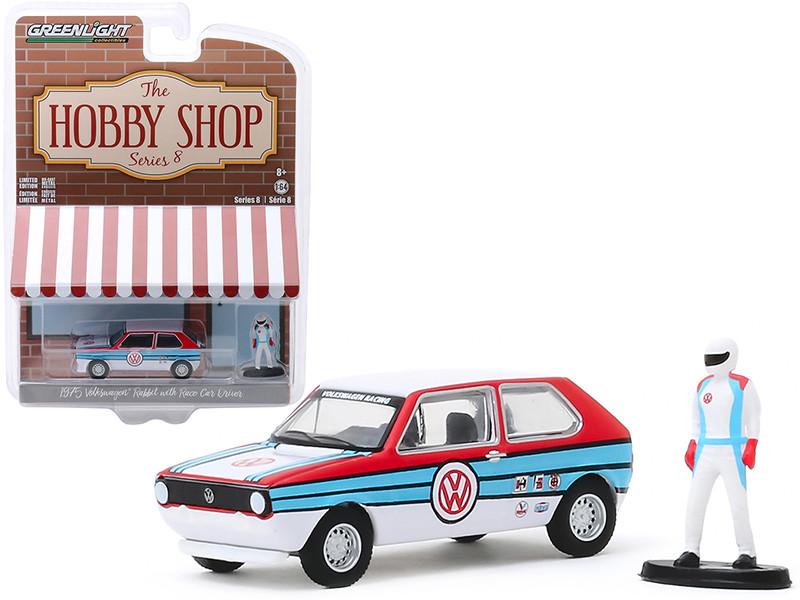 1975 Volkswagen Rabbit White Stripes Race Car Driver Figurine The Hobby Shop Series 8 1/64 Diecast Model Car Greenlight 97080 B