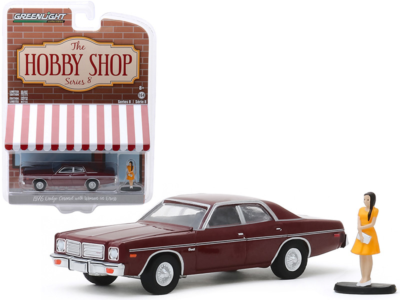 1976 Dodge Coronet Burgundy Metallic Woman in Dress Figurine The Hobby Shop Series 8 1/64 Diecast Model Car Greenlight 97080 C