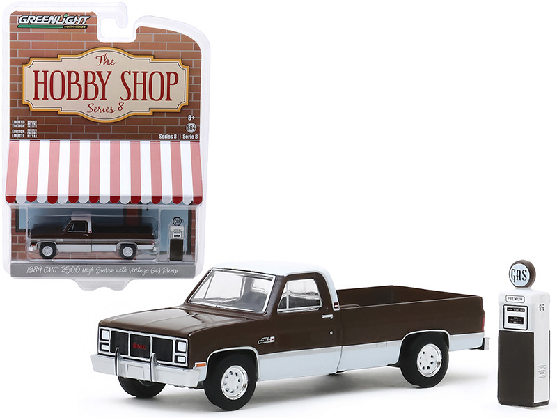 1984 GMC 2500 High Sierra Pickup Truck Brown Metallic White Vintage Gas Pump The Hobby Shop Series 8 1/64 Diecast Model Car Greenlight 97080 D