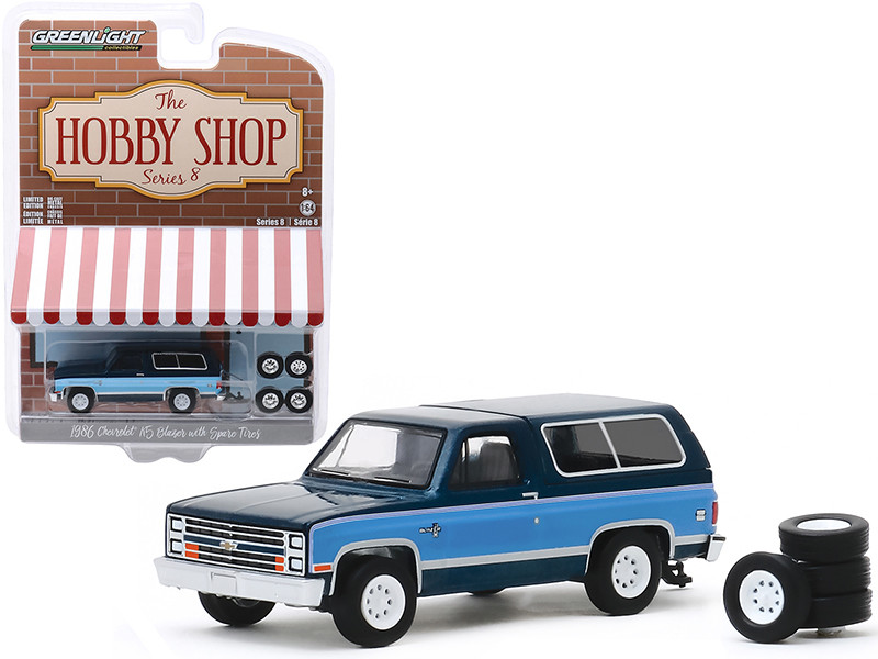 1986 Chevrolet K5 Blazer Dark Blue Metallic Light Blue Spare Tires The Hobby Shop Series 8 1/64 Diecast Model Car Greenlight 97080 E