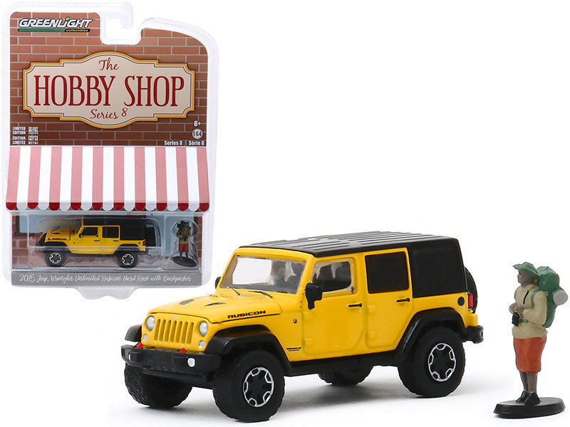 2015 Jeep Wrangler Unlimited Rubicon Hard Rock Yellow Black Top Backpacker Figurine The Hobby Shop Series 8 1/64 Diecast Model Car Greenlight 97080 F