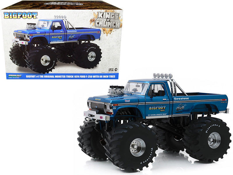 1974 Ford F-250 Ranger XLT Monster Truck Blue Bigfoot #1 with 66-Inch Tires Kings of Crunch Series 1/18 Diecast Model Car Greenlight 13541