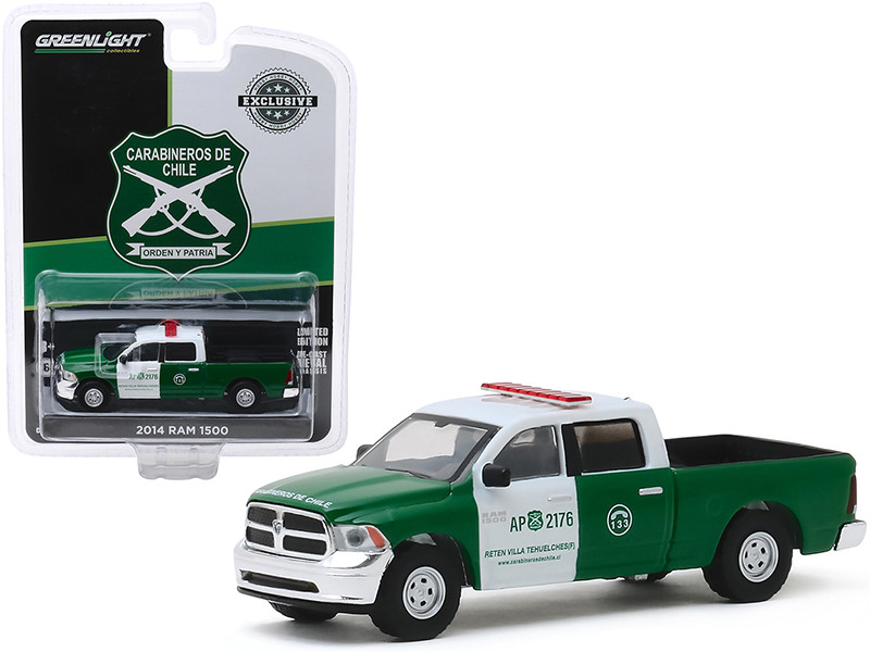 2014 Dodge Ram 1500 Pickup Truck Police Carabineros de Chile Green White Hobby Exclusive 1/64 Diecast Model Car Greenlight 30111