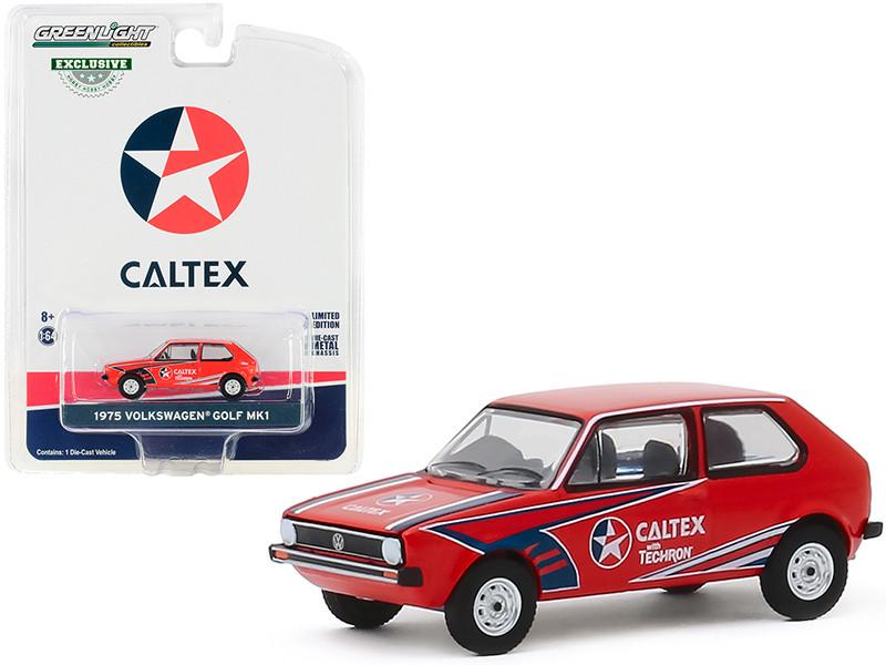 1975 Volkswagen Golf Mk1 Red Caltex with Techron Hobby Exclusive 1/64 Diecast Model Car Greenlight 30132