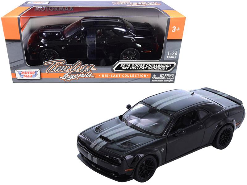 2018 Dodge Challenger SRT Hellcat Widebody Black Silver Stripes 1/24 Diecast Model Car Motormax 79350