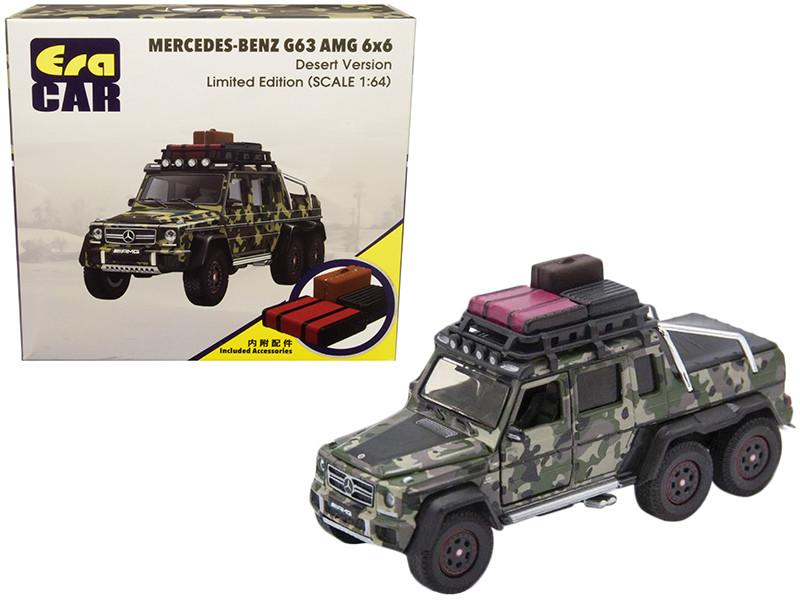 Mercedes Benz G63 AMG 6x6 Pickup Truck Desert Version Accessories Camouflage 1/64 Diecast Model Car Era Car MB196X6SP08