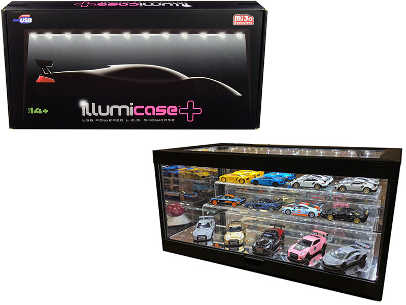 Set of Collectible Display Show Case LED Lights Mirror Base Back Acrylic 2 Tier Riser Stand for 1/64 Scale Model Cars Illumibox MJ7710 7009