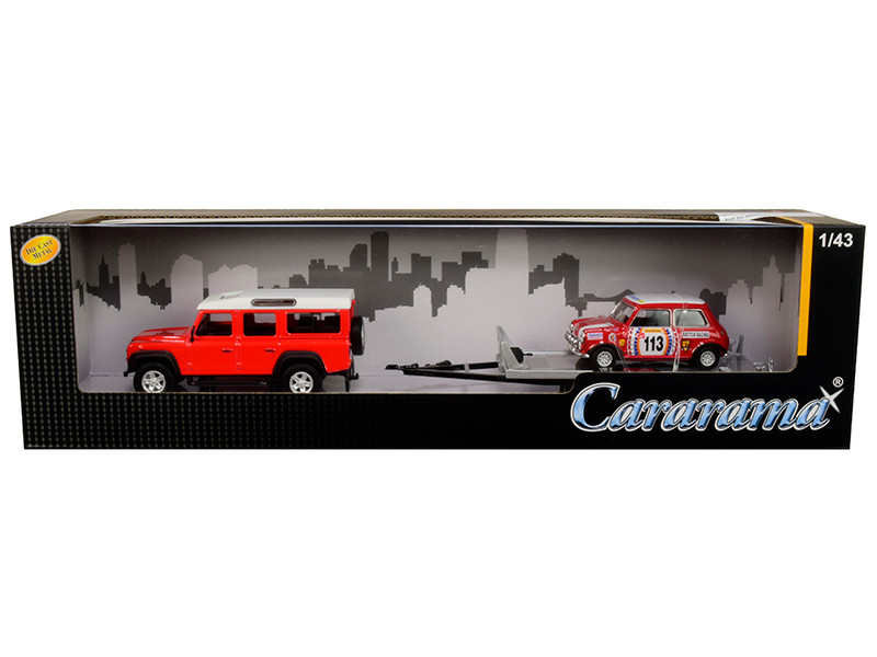 Land Rover Defender 110 Red White Top Trailer Mini Cooper #113 British Racing 1/43 Diecast Model Cars Cararama 48131 M