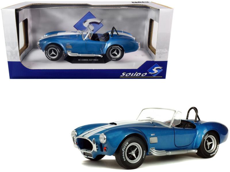 1965 Shelby Cobra A/C 427 MKII Blue Metallic White Stripes 1/18 Diecast Model Car Solido S1850017