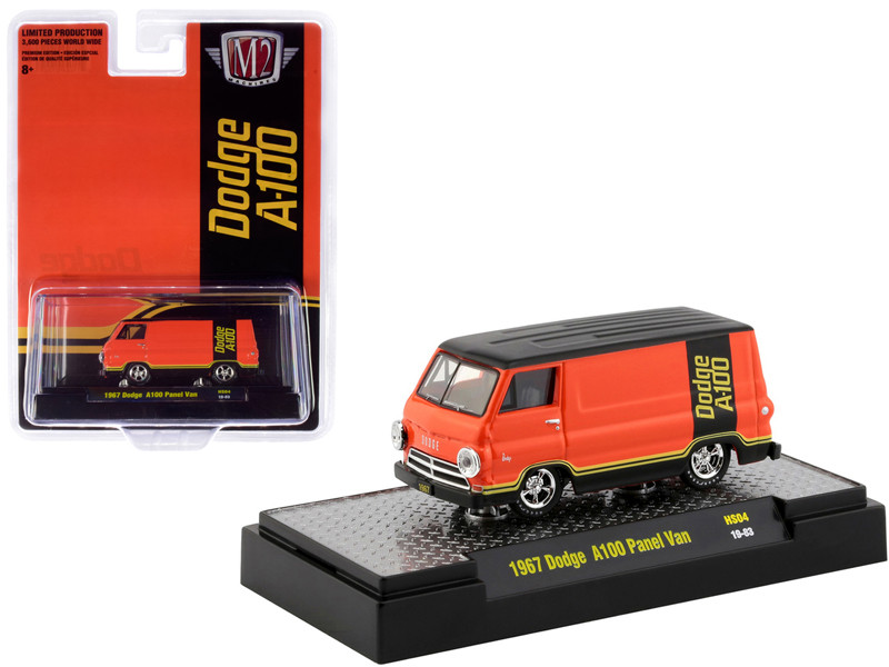 1967 Dodge A100 Panel Van Orange Black Hobby Exclusive Limited Edition 3600 pieces Worldwide 1/64 Diecast Model Car M2 Machines 31500-HS04