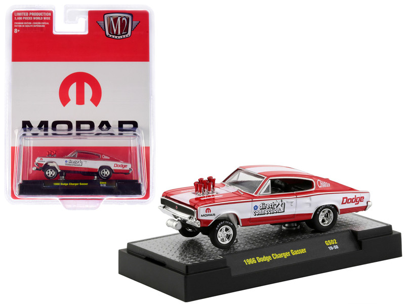 1966 Dodge Charger Gasser Red White MOPAR Direct Connection Hobby Exclusive Limited Edition 3600 pieces Worldwide 1/64 Diecast Model Car M2 Machines 31600-GS02