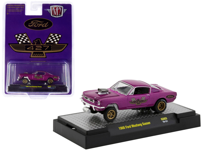 1966 Ford Mustang Gasser Purple Metallic Gold Wheels 427 Hobby Exclusive Limited Edition 3600 pieces Worldwide 1/64 Diecast Model Car M2 Machines 31600-GS03