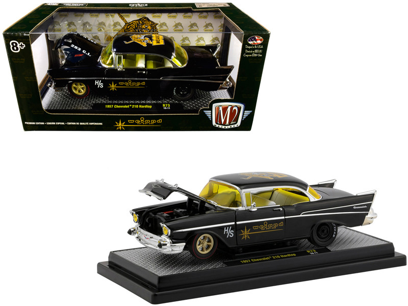 1957 Chevrolet 210 Hardtop Weiand Black Limited Edition 5880 pieces Worldwide 1/24 Diecast Model Car M2 Machines 40300-73 A