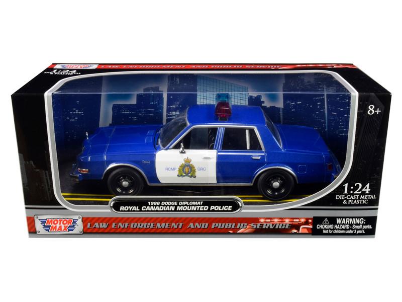 1986 Dodge Diplomat Royal Canadian Mounted Police Metallic Blue White 1/24 Diecast Model Car Motormax 76484