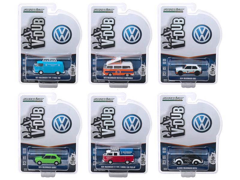 Club Vee V-Dub Series 10 6 piece Set 1/64 Diecast Model Cars Greenlight 29980