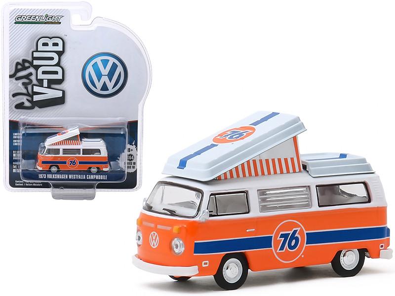 1973 Volkswagen Westfalia Campmobile Union 76 Orange White Blue Stripes Club Vee V-Dub Series 10 1/64 Diecast Model Car Greenlight 29980 B