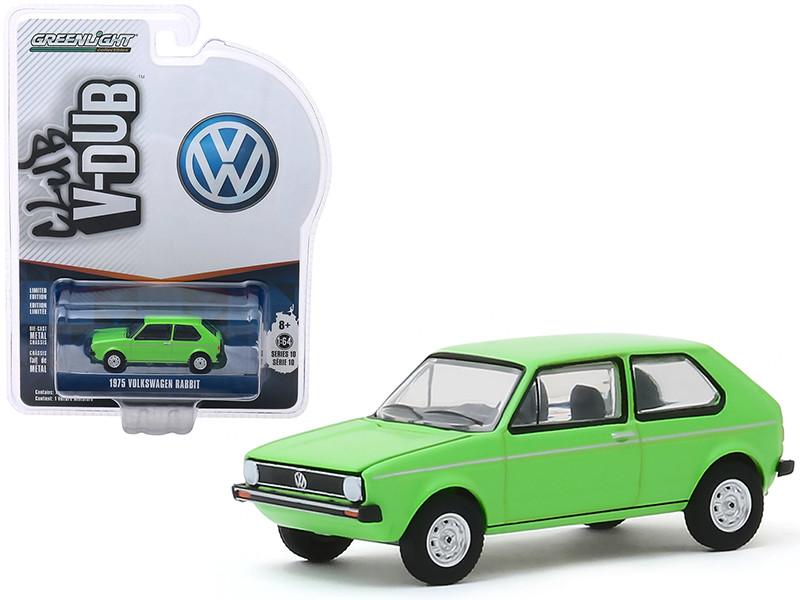 1975 Volkswagen Rabbit Bright Green Club Vee V-Dub Series 10 1/64 Diecast Model Car Greenlight 29980 D
