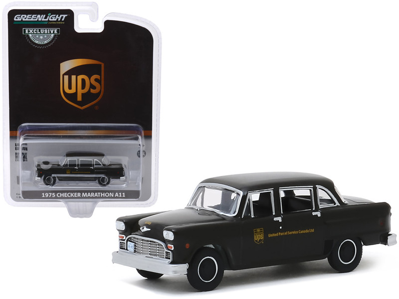 1975 Checker Marathon A11 Parcel Delivery United Parcel Service Canada Ltd UPS Dark Brown Hobby Exclusive 1/64 Diecast Model Car Greenlight 30128