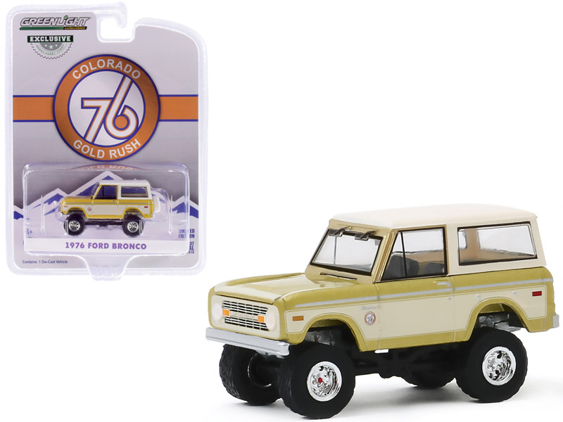 1976 Ford Bronco Gold Metallic Cream Colorado Gold Rush Bicentennial Special Edition 1/64 Diecast Model Car Greenlight 30135
