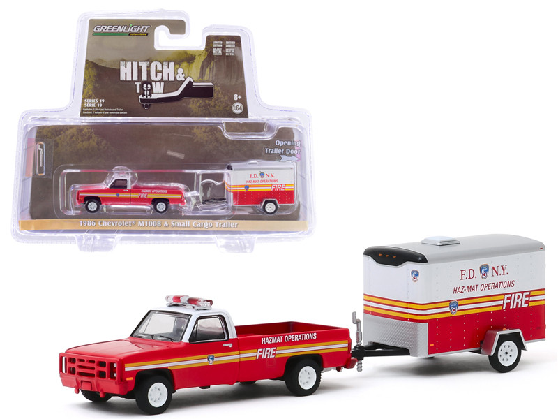 1986 Chevrolet M1008 Pickup Truck Small Cargo Trailer The Official Fire Department City of New York FDNY Haz-Mat Operations Hitch & Tow Series 19 1/64 Diecast Model Car Greenlight 32190 A