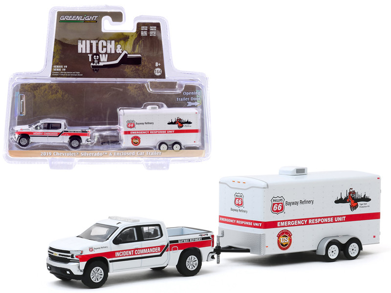 2019 Chevrolet Silverado Pickup Truck White Phillips 66 Bayway Refinery Emergency Response Unit Enclosed Car Trailer White Hitch & Tow Series 19 1/64 Diecast Model Car Greenlight 32190 D