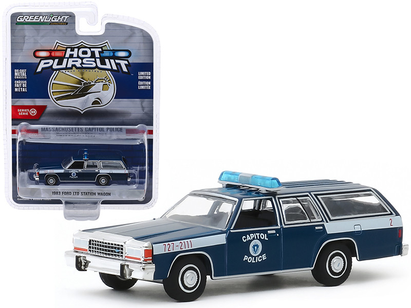 1983 Ford LTD Station Wagon Massachusetts Capitol Police Massachusetts USA Dark Blue Hot Pursuit Series 33 1/64 Diecast Model Car Greenlight 42900 A
