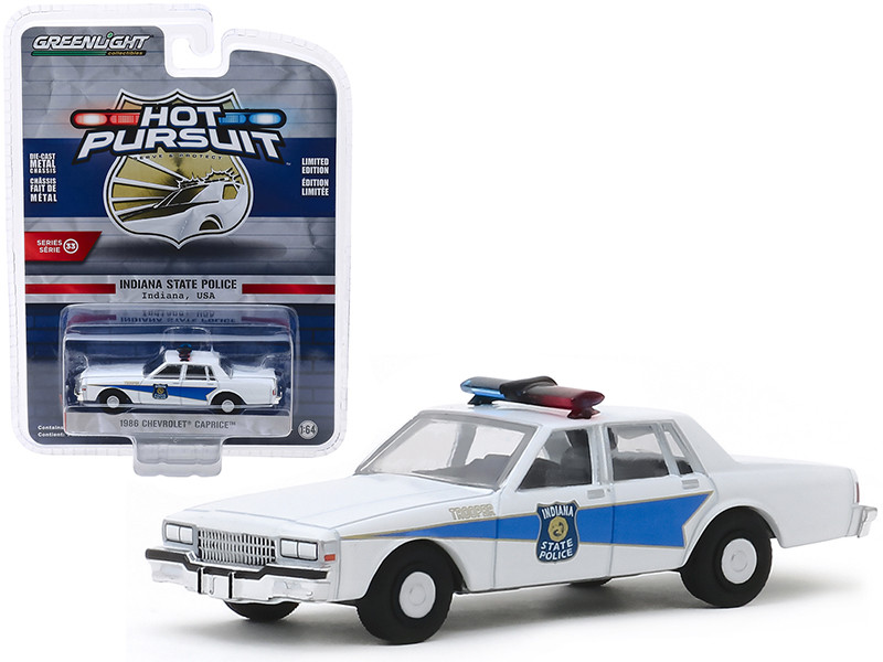 1986 Chevrolet Caprice Indiana State Police Indiana USA White Hot Pursuit Series 33 1/64 Diecast Model Car Greenlight 42900 B