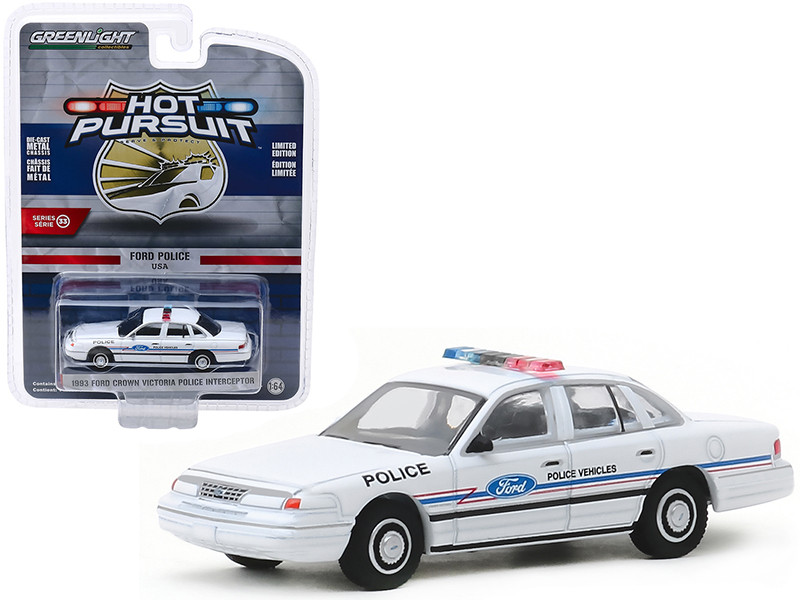 1993 Ford Crown Victoria Police Interceptor Ford Police Vehicles Show Car White Hot Pursuit Series 33 1/64 Diecast Model Car Greenlight 42900 C