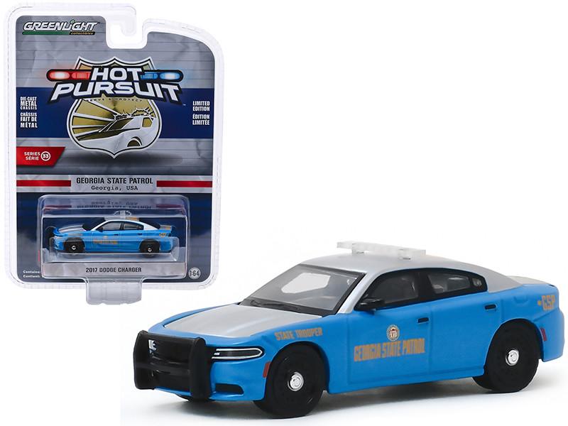 2017 Dodge Charger Georgia State Patrol Georgia USA Light Blue Metallic Silver Hot Pursuit Series 33 1/64 Diecast Model Car Greenlight 42900 E