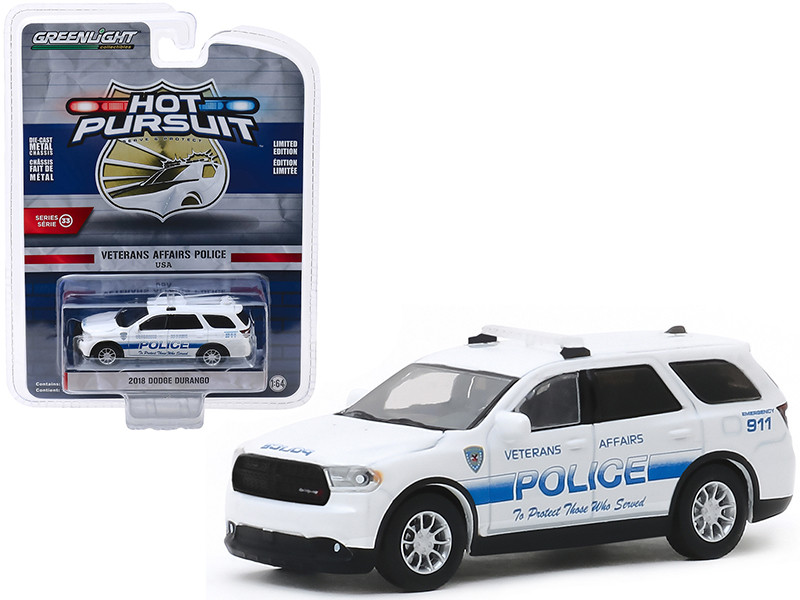 2018 Dodge Durango Veterans Affairs Police White Hot Pursuit Series 33 1/64 Diecast Model Car Greenlight 42900 F