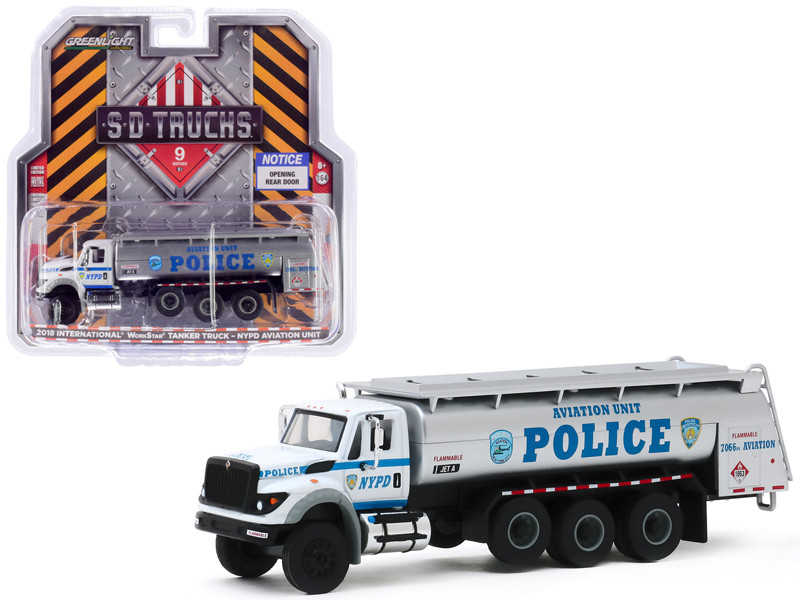 2018 International WorkStar Tanker Truck New York City Police Dept NYPD Aviation Unit White Silver SD Trucks Series 9 1/64 Diecast Model Greenlight 45090 A