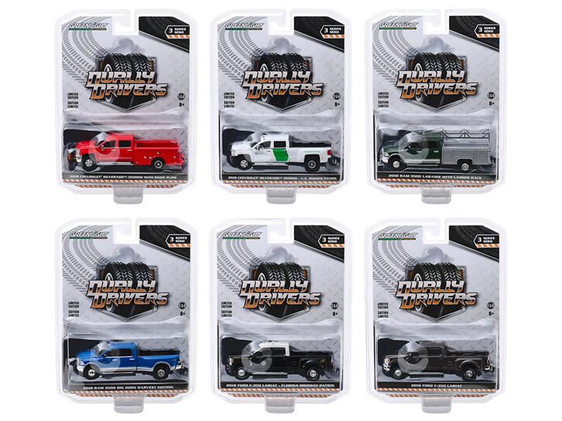 Dually Drivers Series 3 Set of 6 Trucks 1/64 Diecast Model Cars Greenlight 46030
