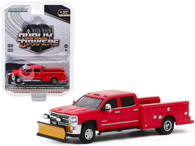 2018 Chevrolet Silverado 3500HD Dually Service Bed Truck Snow Plow Red Dually Drivers Series 3 1/64 Diecast Model Car Greenlight 46030 A