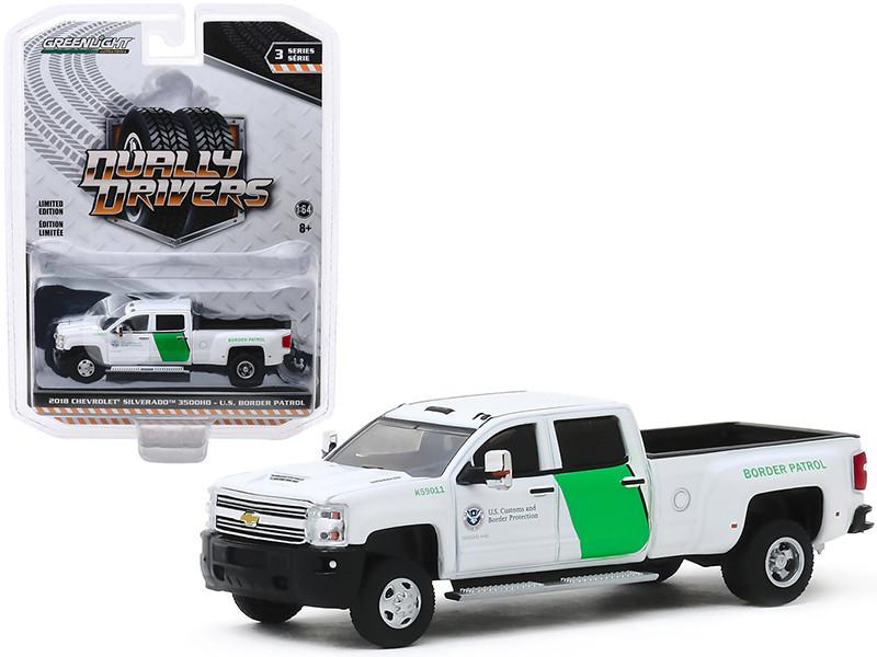 2018 Chevrolet Silverado 3500HD Dually Pickup Truck US Customs and Border Protection Border Patrol White Dually Drivers Series 3 1/64 Diecast Model Car Greenlight 46030 B