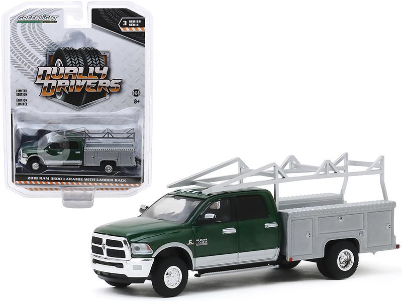 2018 Ram 3500 Laramie Dually Service Bed Truck Ladder Rack Green Metallic Gray Metallic Dually Drivers Series 3 1/64 Diecast Model Car Greenlight 46030 C