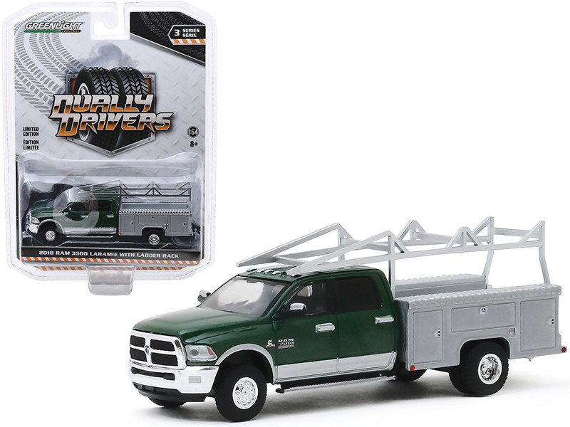 2018 Dodge Ram 3500 Laramie Dually Service Bed Truck Ladder Rack Green Metallic Gray Metallic Dually Drivers Series 3 1/64 Diecast Model Car Greenlight 46030 C