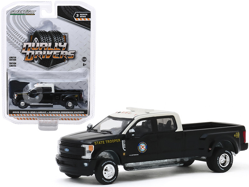 2019 Ford F-350 Lariat Dually Pickup Truck Florida Highway Patrol State Trooper Black White Top Dually Drivers Series 3 1/64 Diecast Model Car Greenlight 46030 E