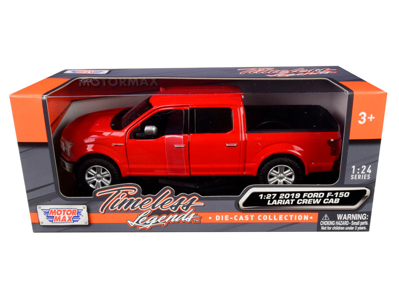 2019 Ford F-150 Lariat Crew Cab Pickup Truck Red 1/24 1/27 Diecast Model Car Motormax 79363