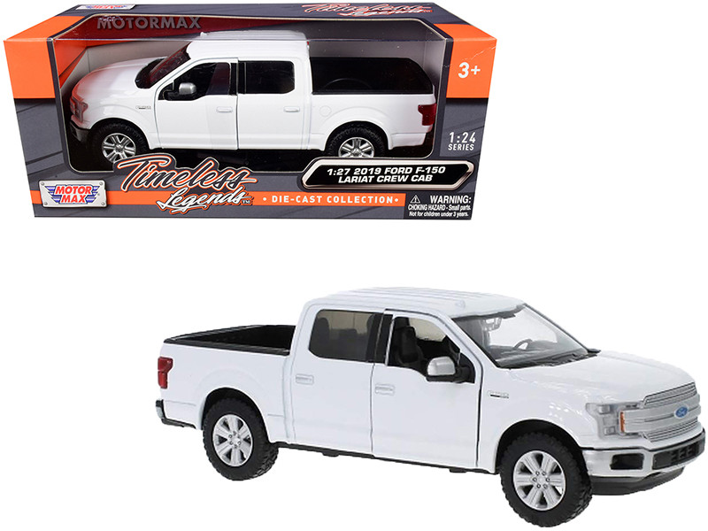 2019 Ford F-150 Lariat Crew Cab Pickup Truck White 1/24 1/27 Diecast Model Car Motormax 79363