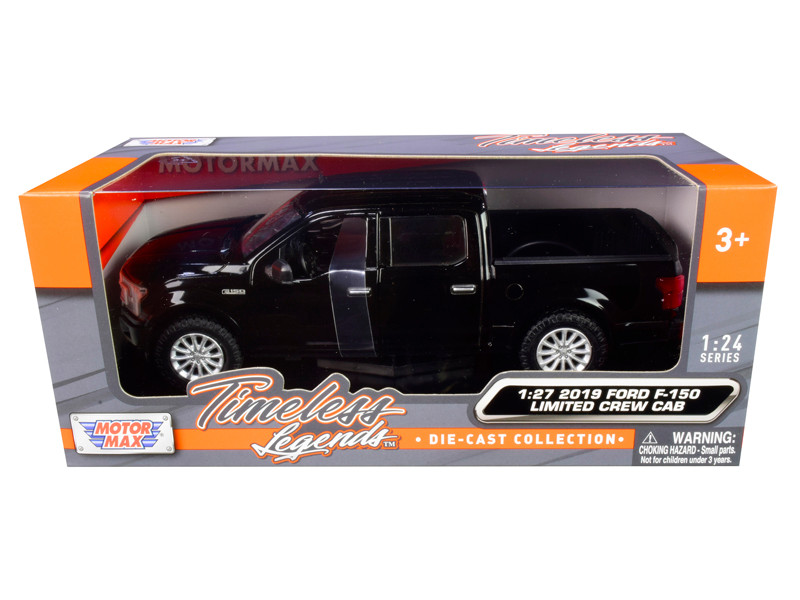 2019 Ford F-150 Limited Crew Cab Pickup Truck Black 1/24 1/27 Diecast Model Car Motormax 79364
