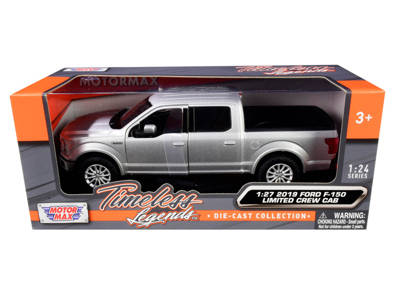 2019 Ford F-150 Limited Crew Cab Pickup Truck Metallic Silver 1/24 1/27 Diecast Model Car Motormax 79364
