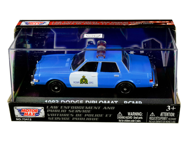1983 Dodge Diplomat Royal Canadian Mounted Police RCMP Light Blue White 1/43 Diecast Model Car Motormax 79472