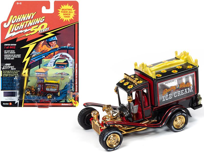 George Barris Ice Cream Truck Daisy Bell Custom Black Metallic Limited Edition 4412 pieces Worldwide Johnny Lightning 50th Anniversary 1/64 Diecast Model Car Johnny Lightning JLCG020 JLSP075 B