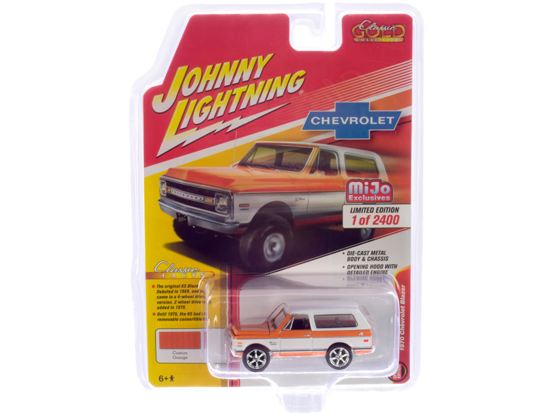 1970 Chevrolet Blazer Custom Orange White Limited Edition 2400 pieces Worldwide 1/64 Diecast Model Car Johnny Lightning JLCP7312