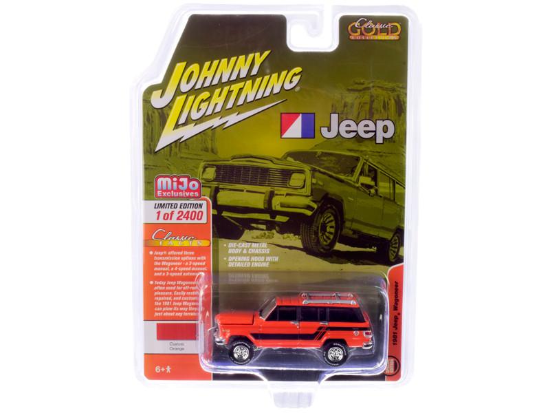 1981 Jeep Wagoneer Custom Orange Black Stripes Limited Edition 2400 pieces Worldwide 1/64 Diecast Model Car Johnny Lightning JLCP7314