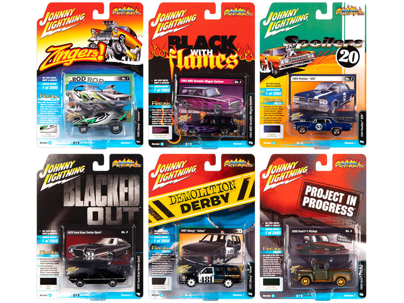 Street Freaks 2020 Release 1 Set A of 6 Cars 1/64 Diecast Models Johnny Lightning JLSF015 A
