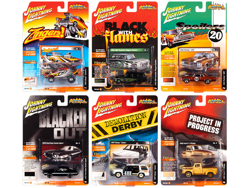 Street Freaks 2020 Release 1 Set B of 6 Cars 1/64 Diecast Models Johnny Lightning JLSF015 B