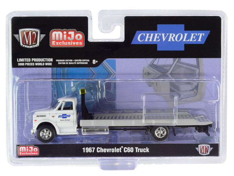 1967 Chevrolet C60 Flatbed Truck White Chevrolet Detroit Michigan Limited Edition 3000 pieces Worldwide 1/64 Diecast Model M2 Machines 39100-MJS01