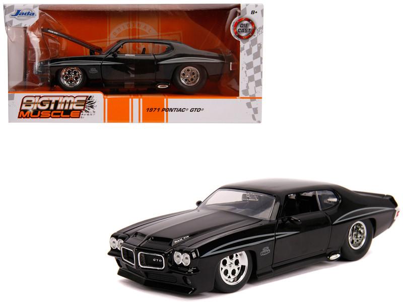 1971 Pontiac GTO Judge Glossy Black Bigtime Muscle 1/24 Diecast Model Car Jada 31644